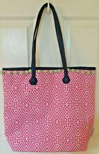 Clinique Jonathan Adler  Bag Tote Purse Pink,White & Blue w/ Green Pompoms