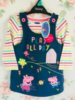 Girls Baby Toddler Peppa Pig George Denim Pinafore Dress Long Sleeve Top Set