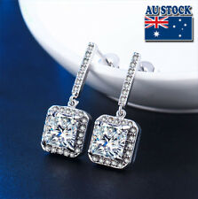 Elegant 18K White Gold Filled CZ Crystal Square Stud Drop Earrings Bride