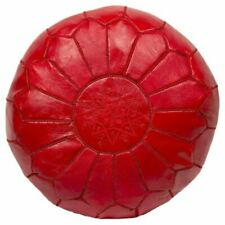 Moroccan Handmade Red Pouff Leather Pouf Ottoman footstool *NEW*