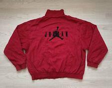NIKE AIR JORDAN Vintage 90s Big Jumpman Windbreaker Track Jacket -Red Large Rare