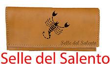 992c905600 Portatabacco segno zodiacale scorpione Borsello vera pelle inciso stok lotto