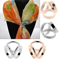 Fashion Women Trio Scarf Ring Silk Scarf Buckle Clip Holder Brooch Slide Jewelry