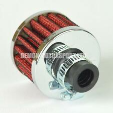 Small Cone Breather Filter 12mm Oil / Crank Case / Air (Red / Chrome)