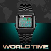Orologio da uomo digitale SKMEI da uomo business World Time Date impermeab LP