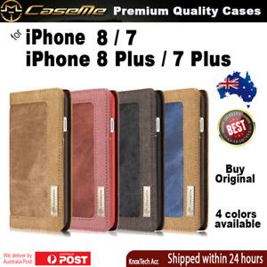 Premium Magnetic Flip Canvas Wallet Cover Case for iPhone 8 Plus, 8, 7, 7 Plus