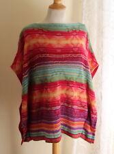 Ralph Lauren Sz L Southwest Artsy Lagenlook Linen Knit Tabard Sweater Cardigan