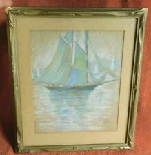 Vintage Arts Crafts Carved Picture Frame Elsie Edwards Painting Marblehead MA