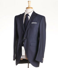 NWT $1295 CORNELIANI COLLECTION Slate Blue Stripe Wool-Silk Suit US 46 L Long