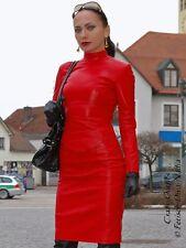 Ledertop cuero top rojo Zipper manga larga, hecha a medida