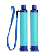 2xPersonal Water Filter Straw Survival Filtration Portable Gear Emergency Supply