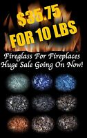 HUGE SALE - SPECIAL - FIREGLASS Fireplace & Fire Pit Crushed Glass Tempered