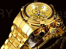 New Invicta 52MM Bolt ZEUS Swiss 18k All Gold Tone Cables Bracelet Chrono Watch
