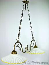 Lampadario ottone brunito liberty,sospensione due luci piatti ceramica l22013