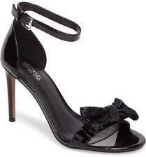 Michael Kors Paris Open-toe Dress Black Siquen Bow Ankle Strap Sandals US 10