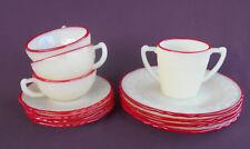 McKEE Glass LAUREL LEAF Child's Set Dishes FRENCH IVORY RED TRIM Vintage 12 Pcs