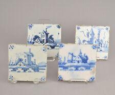 Carrelage Quatre Carreaux de Faïence en Delft à décor Blanc Bleu 18ème