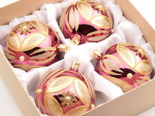 Luxury set (4) large hand blown glass Christmas tree baubles ornaments pink