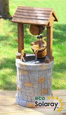 Solar Powered Wishing Well Water Feature Fountain Cascade Garden Outdoor New