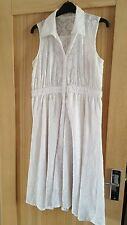 Size 12 White Crinkle Fabric Sleeveless Summer Dress VGC worn & washed once