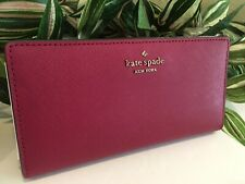 KATE SPADE LAUREL WAY STACY WALLET CLUTCH BIFOLD CRANBERRY PINK LEATHER $149