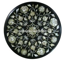 "16""x16"" Black Marble Round Mother of Pearl Coffee Table Top Christmas Present"