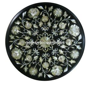 """16""""x16"""" Black Marble Round Mother of Pearl Coffee Table Top Christmas Present"""