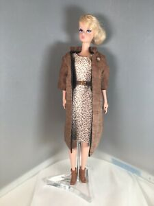 Silkstone Barbie Lined Pure Linen Coat with Broach & Mini Print Dress by Solveig