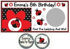 10 Ladybugs Birthday Party Baby Shower Scratch Off Game Card Lottery Tickets