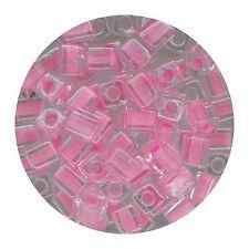 Square Glass Beads Japan 4mm Miyuki Cube Pink Lined Crystal