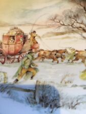 """Royal Worcester Christmas Plate"""" Horse and Carriage"""" Scene ~ VGC"""