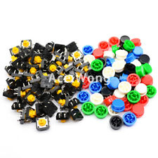 100Pcs Tactile Push Button Switch Momentary 12*12*7.3MM + 5 colors Tact Cap