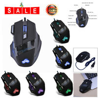 5500DPI LED Optical USB Wired Gaming Mouse 7 Buttons 7-color Gamer Computer Mice