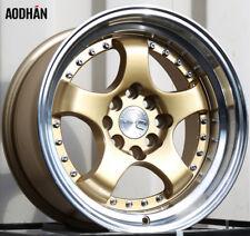 15x8 Aodhan Meister Style AH03 8H 4x100/4x114.3 20 Gold Wheel Rim set(4)