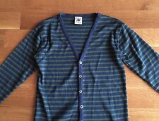 SNS S.N.S. HERNING Navy Blue Green Striped Cardigan Cotton Sweater Medium $170