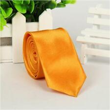 Mens Classic Slim Skinny Wedding Solid Plain Satin Neck Tie Necktie Formal Party