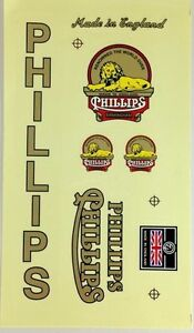 PHILLIPS DECALS BICYCLE BIKE WHEEL VINTAGE SPORTING STICKER CYCLING FRAME PARTS
