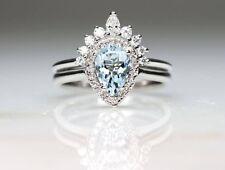 Pear Aquamarine & Diamond Crown Band Unique 14k Gold 2pcs Wedding  Ring Set