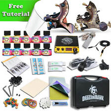 TOP PRO LEVEL Tattoo Kit 2 Top Damascus steel Handmade Machine Gun 10 Inks
