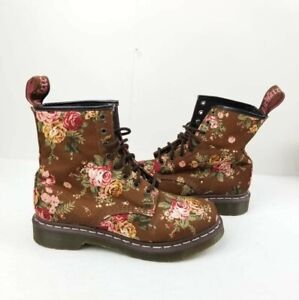 Dr. Martens Women's 8 eye 1460 Taupe Victorian flowers US 9 Ladies Combat Ankle