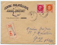 LETTRE ENVELOPPE / AFFRANCHISSEMENT COMPOSE / RECOMMANDE LIMOGES POUR GAP 1947