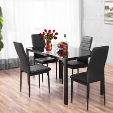 Black Gloss Tempered Glass Dining Table and 4 Chairs Dinner Room Furniture Set