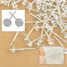 100PCS 925 Silver Stud Earrings Making Jewelry Findings Supplies Back Post Pad