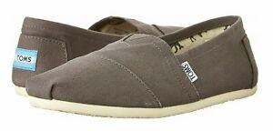 Toms Mens Classic Canvas Alpargatas Loafer Shoe Size 10 Ash Gray Slip On New