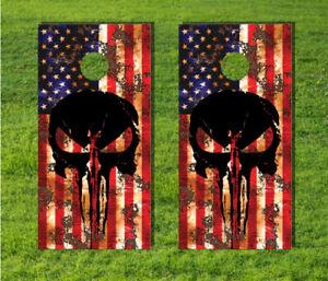 American Flag Distressed Game Board Cornhole Bag Decal Wrap USA Punisher Skull