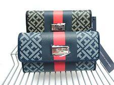 Tommy Hilfiger Wallet *Navy Black Red Stripe w/Check Book Envelop Style Clutch