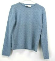 Andrea Viccaro Women's Large Long Sleeve 100% Cashmere Crew Neck Sweater Blue