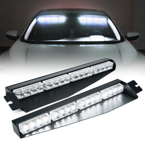 White 2X LED Visor Windshield Strobe Light Bar Flash Emergency Warn Truck Pickup