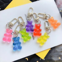 1PC Women Cute Bear Flatback Keychain Resin Pendant Charms Keyring for Gifts New