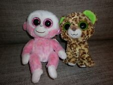 SET OF TWO TY BEANIE BOOS CUDDLY TOYS, NEW WITH TAGS, MONKEY & LEOPARD